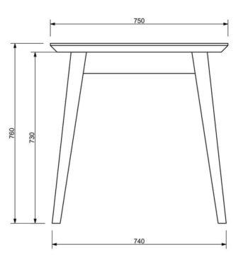Дерев'яний стіл креслення фото «Rondo» боковий фасад